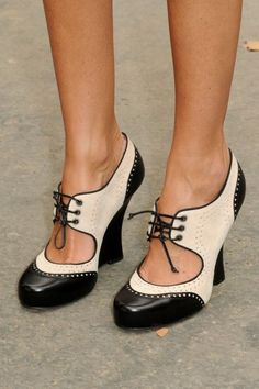 Black and white shoes.