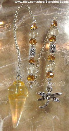 Dragonfly in Amber Pendulum  Citrine Pendulum by StarshineBeads