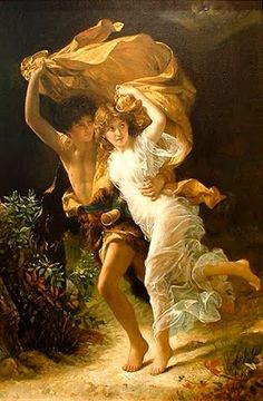 Pierre Auguste Cot, The Storm, This shows Romanticism because it is a colorful painting that shows emotion. Pierre Auguste Renoir, Oil Painting On Canvas, Painting & Drawing, Munier, Romantic Paintings, Classic Paintings, William Adolphe Bouguereau, Pre Raphaelite, Adam And Eve