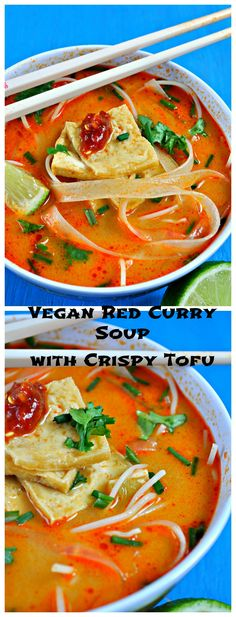 Vegan Red Curry Soup with Crispy Tofu