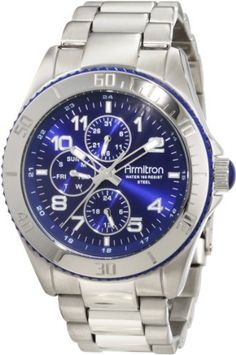 Armitron Men's 20/4810BLSV Bezel Blue Dial Silver-Tone Multi-Function Watch Armitron. $71.27. Water-resistant to 165 ft.. Stainless steel adjustable link silver-tone bracelet with polished center links and brushed outer section; two button fold-over clasp with safety. 42.5mm brushed silver-tone stainless steel case; stainless steel bezel with engraved arabic numerals and blue resin coin edge textured outer ring and blue domed crown cap. 3 silver-tone subdials feat...