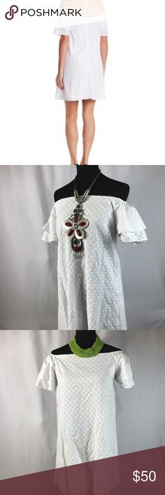 Off Shoulder Eyelet Dress 👗 NWT 👗 Gorgeous Floral Eyelet Off Shoulder Dress 👗 NWT 👗 No imperfections, holes and/ or tears. ❌ TRADES ❌🐶🐱🚭 Spirit of Grace Dresses Midi