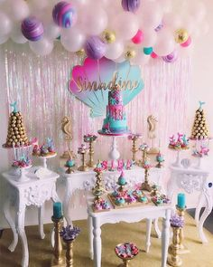 cookie desserts Pink, Purple & Aqua Mermaid Under The Sea Birthday Party Contributing Vendors: Party Planner Standing Mermaid Cookies Desserts &. Mermaid Theme Birthday, Little Mermaid Birthday, Little Mermaid Parties, Baby Girl Birthday, Pink Birthday, Mermaid Party Decorations, Birthday Party Decorations, Birthday Parties, Birthday Cupcakes