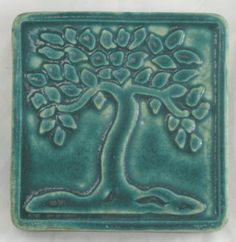 "Pewabic's 4x4"" Botanical series of tiles (including Flower, Tree and Gingko) was originally designed by ceramic artist and Cranbrook graduate Lee Morrell. Formerly an art teacher and Pewabic Society member, Morrell worked on the glaze match calculation for the Scott Fountain on Belle Isle and contributed to the development of many of Pewabic's iridescent glazes.  This high-fire stoneware tile is available in several of Pewabic's signature Arts & Crafts glazes. $19.95"