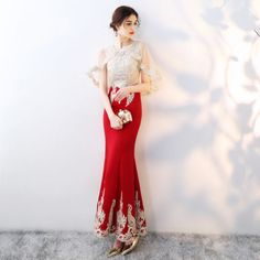 Chic / Beautiful Red With Shawl Evening Dresses 2019 Trumpet / Mermaid Beading Rhinestone Lace Flower Scoop Neck Sleeveless Ankle Length Formal Dresses Model Dress Kebaya, Kebaya Modern Dress, Evening Dresses, Prom Dresses, Formal Dresses, Dress Brokat, Batik Dress, Traditional Dresses, Sexy Outfits