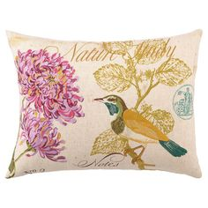 Linen-blend pillow with a bird and floral motif.   Product: Pillow Construction Material: Linen blend cover and polyes...