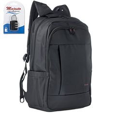 Laptop Backpack 17 Inch for Men and Women  Slim  Padded  Professional  Lightweight  Water Resistant  Ergonomic  With Bottle Holders  for Business College and Travel  Padlock  Bundle  Black -- Check out this great product.