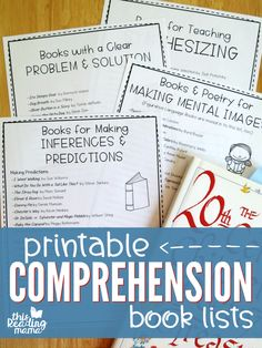 Printable Comprehension Book Lists ~ take it to the library or book store! ~ This Reading Mama