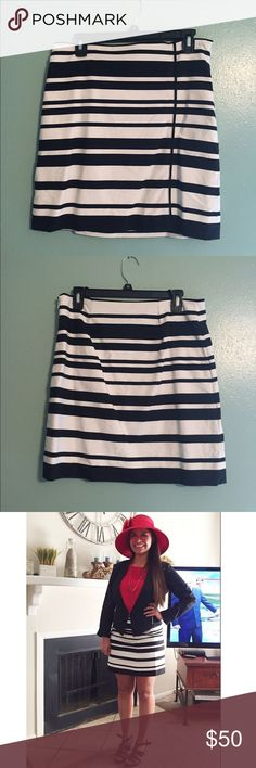 Black and White Striped Skirt Unique striped skirt worn once for Homecoming Court as seen in the last picture👑 Looks great with a solid colored top! NWOT White House Black Market Skirts