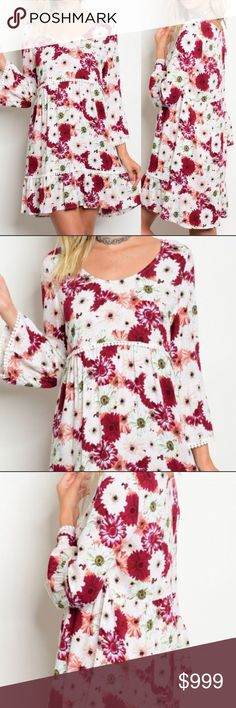 🌹Stunning Ivory Wine Floral Bell sleeve dress! 🌹Stunning Ivory Wine Floral Bell sleeve dress! So on trend and BOHO chic! Dress up with heels or wear with flats or converse. Boutique-NWT. 100% Rayon. S/M/L boutique Dresses Midi