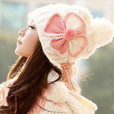Fashion students bowknot flower knitting wool hat