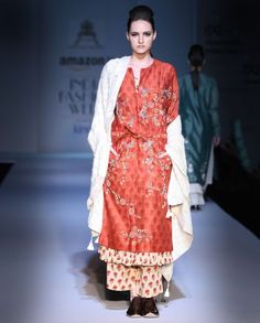 Floral Embroidered Rust Double Layered Kurta Set
