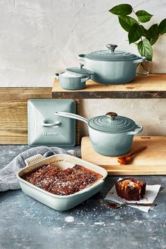 If it's possible for homemade brownies to look any better than they naturally do, Le Creuset Sea Salt is here for the job. This calming hue transitions beautifully from spring to summer and takes your recipes from the kitchen to the table with ease.