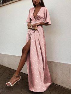Women Dress Women Evening Dress Bandage Wave Point Short Sleeve V-Neck Long Dress