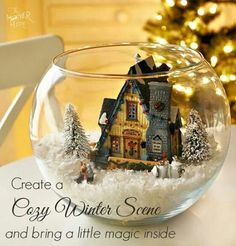 Bring a little wintery magic inside with a DIY snow globe complete with a lighte… - Diy Christmas Gifts Magical Christmas, Noel Christmas, Winter Christmas, Christmas Ornaments, Christmas Wonderland, Christmas Candle, Rustic Christmas, Beautiful Christmas, Diy Snow Globe