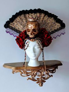 Black Hair Pieces, Horror Costume, Halloween Headband, Gold Skull, Cloth Flowers, Floral Headpiece, Gold Lace, Red Hats, Day Of The Dead
