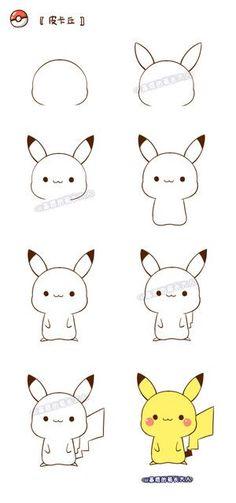 How to draw pikachu! how to draw a Chibi Pikachu. Cute Easy Drawings, Kawaii Drawings, Art Drawings Sketches, Cartoon Drawings, Animal Drawings, Doodles Bonitos, Cute Doodles, Cute Pokemon, Pokemon Pokemon