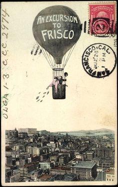 Postcard San Francisco Kalifornien USA, Heißluftballon, Stadtansicht, Fotomontage | akpool.co.uk