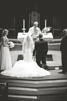 Photo by Michelle Lawson Photography. This photo melts my heart ♥ kneeling at the alter before we say our vows #wedding #weddingideas #weddingdress  #mstriciasfl  #blushweddingdress #pinkweddingdress #MaggieSottero #designerweddingdress #blackandwhiteweddingphotography #churchceremony #weddingvows #atthealter #brideandgroom #laceweddingdress