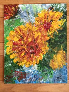 Yellow flowers. #art #painting #flowers #paletteknives #forsale See more at green-monster.ca