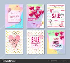 Happy Mothers Day collection. Set of Valentine's day, Mothers Day card, sale and web banners flyers templates with lettering, hearts, balloons. Typography poster, label, brochure banner design collection. Love, Romance promotion — Stock Vector #153216326