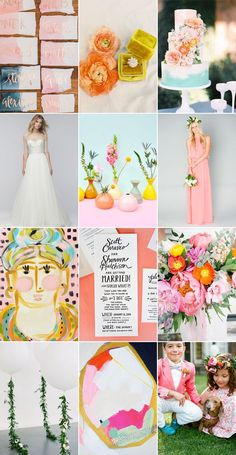 bright and modern wedding mood board