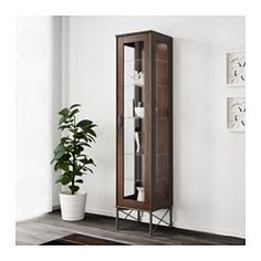TOCKARP Glass door cabinet, brown - brown - IKEA