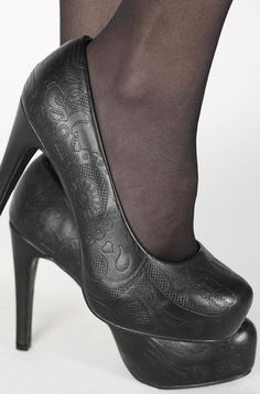 2ef59671bc7f Classic black slip on platforms with embossed sugar skull on the toe. These  vegan friendly