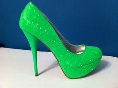 Neon Heels Pumps   NEON Green Glitter Heels - HOT Summer Color - Sparkle Pumps on Wanelo