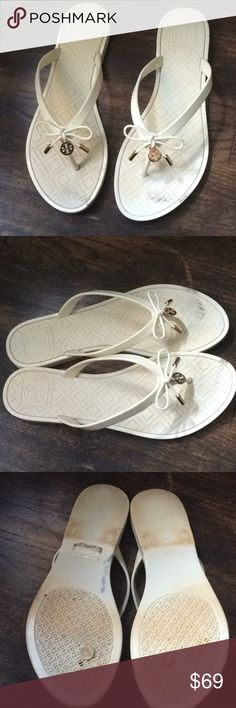 Tory Burch jelly sandals size 8 These beautiful Tory Burch sandals can't wait for spring!!! Please note there was a minor repair the thing part had to be fixed on the last pic very unnoticeable. Price reflects condition. Tory Burch Shoes Sandals