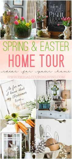 Want to decorte your home this spring? Take a look at these Spring & Easter Home Tour Ideas on Frugal Coupon Living. Easter Decor.
