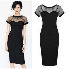 Womens black see mesh bodycon sexy midi dress dresses 7