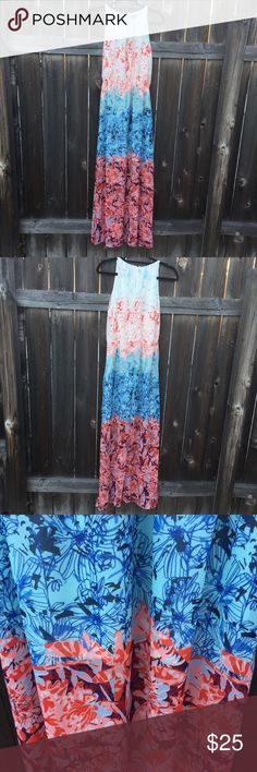 "H&M MAXI DRESS SZ 8 MULTICOLORED LINED H&M MAXI DRESS SZ 8 MULTICOLORED LINED WOMENS  MULTICOLORED  ARMPIT TO ARMPIT 33""  FRONT LENGTH 58""  GOOD CONDITION H&M Dresses Maxi"