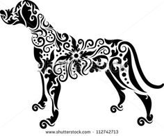 Dog tattoo vector. Animal with floral ornament decoration. Use for tattoo or any design you want. Easy to change color. - stock vector