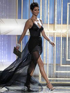 Halle Berry in a black corset dress