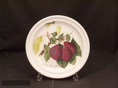 "Portmeirion Pomona No Border Salad Plate - Reine Claude Plum by Portmeirion. $22.99. Dimensions: 8 5/8"" Dia. Brand New - First Quality. Salad Plate - Reine Claude Plum - Various Fruits With Their Names Depicted On White Background - Earliar Version Without Green Leaf Border - Design By Susan Williams-Ellis - Made In Britain"