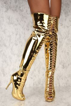 Sexy Mirror Gold Peep Toe High Heels Thigh High Boots Patent