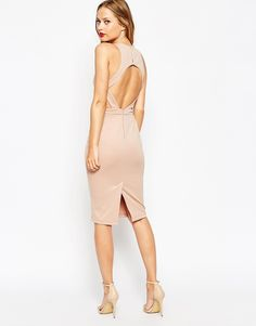ASOS Cut Out Back Body-Conscious Midi Dress - Nude
