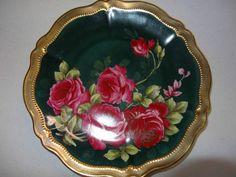 Vintage O EG Royal Austria Rose Dubarry Decorative 9 Plate Green Wreath, Pattern Names, Porcelain Ceramics, The Dish, Fine China, Pink Roses, Tea Cups, Decorative Plates, Hand Painted
