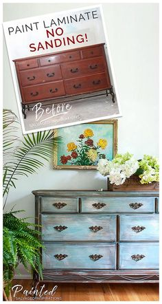 Paint Laminate Furniture Without Sanding | Before and After | Tutorial by Denise at Salvaged Inspirations #paintedfurniture #siblog #slickstick #dixiebelle #paint #tutorial