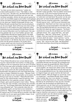 En deel van het verhaal over Robot Ronald in vier briefjes!