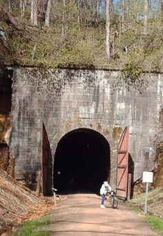 One of three tunnels on the bike trail