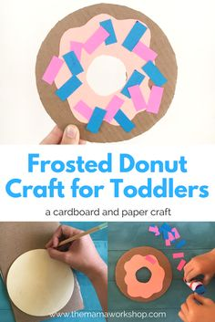 We made a frosted donut craft today! My son absolutely loved sprinkling the donut! Make this simple craft with your kiddos. Just cardboard, paper and glue.