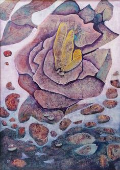Stone Rose   Acrylic Floral And Fish Painting   Original Acrylic Painting   Dora Stork   Encaustic Artist Nature Paintings, Acrylic Paintings, Original Paintings, Stork, Fish, Floral, Artist, Paintings Of Nature, Pisces