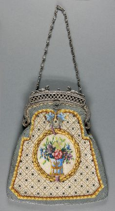 • Beaded Handbag. Place of origin: United States Date: ca. 1905 Medium: Linen with bead embroidery, silver metal frame