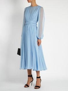 Solid Round Neckline Long Sleeve Midi X-line, Dress - Light Blue / S Source by floryday abiti Blue Chiffon Dresses, Light Blue Dresses, Silk Chiffon, Light Blue Midi Dress, Blue Silk Dress, Chiffon Skirt, Pleated Skirt, Trendy Dresses, Fall Dresses