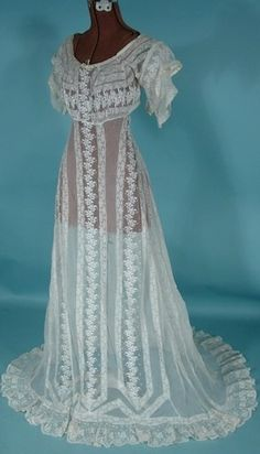 Antique Dress - Item for Sale. # 6630 - c. 1912 White Embroidered Lace Net Slight Trained Wedding Gown