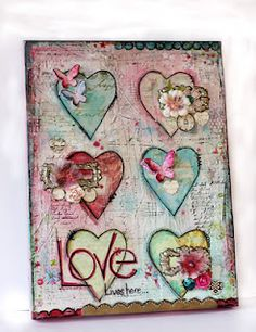 ....How fun is this Mixed Media Canvas--love her colors!!!   :-)