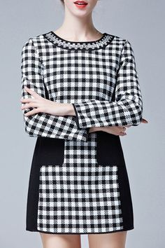 Noble Round Collar Long Sleeve Color Block Plaid Dress For Women