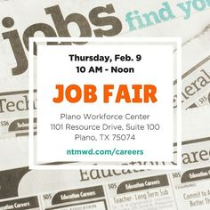 Looking for a great career? Look no further! The North Texas Municipal Water District  will be at the Plano Workforce Center for a job fair TOMORROW Feb. 9 from 10 AM to Noon. We are looking for a variety of qualified applicants to fill positions in engineering plant operations IT heavy equipment laboratory regulatory compliance and more! Visit with recruiters on the spot. Can't make it? Visit our careers page for more information and apply online. A new job or career is waiting for you…